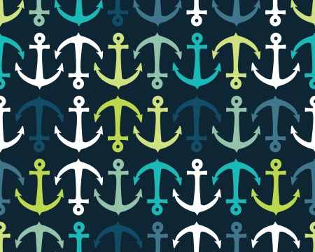 Seamless vector pattern with colorful anchors Illustration
