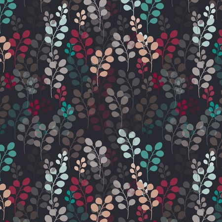 Seamless pattern with branches on dark background  Illustration