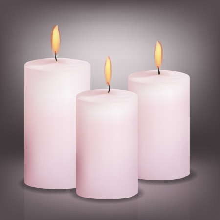 candles spa: Vector illustration of three pink candles Illustration