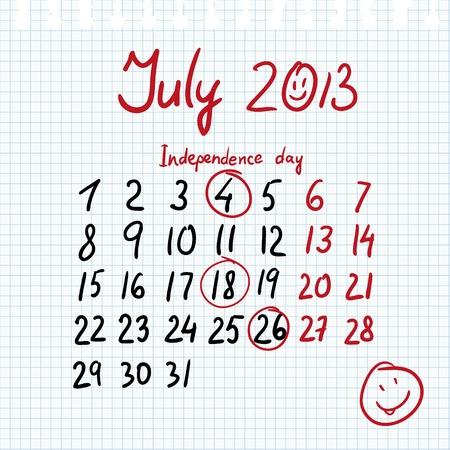 dat: Calendario 2013 luglio in stile schizzo sul foglio di notebook con marcata indipendenza dat