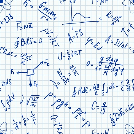 physic: Vector seamless pattern physic formulas handwritting on a notebook sheet. Can be used in textiles, for book design, website background. Illustration