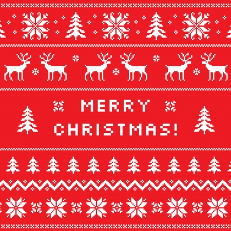 nordic: Merry Christmas greeting card with classical winter sweater design - - deer, snowflake and christmas tree
