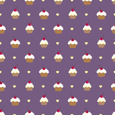 Cupcake seamless vector pattern. Can be used in textiles, for book design, website background. Vector