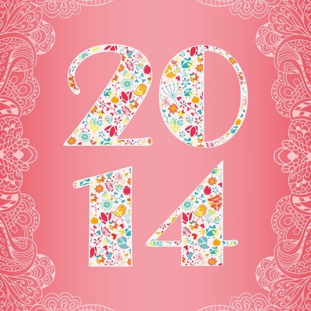 2014 Happy New Year greeting card in pink color with decorative frame