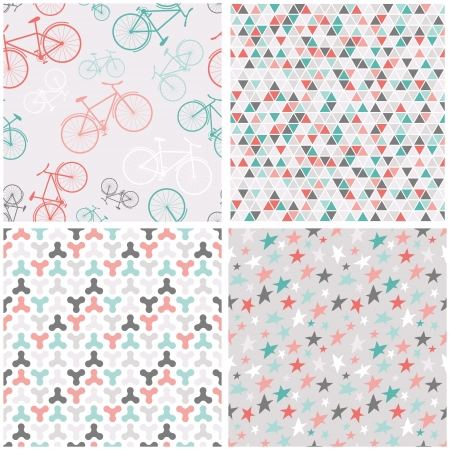 Set of 4 vector seamless patterns in pink, turquoise and grey - stars, triangles and bicycles. Seamless pattern can be used for wallpaper, pattern fills, web page background.