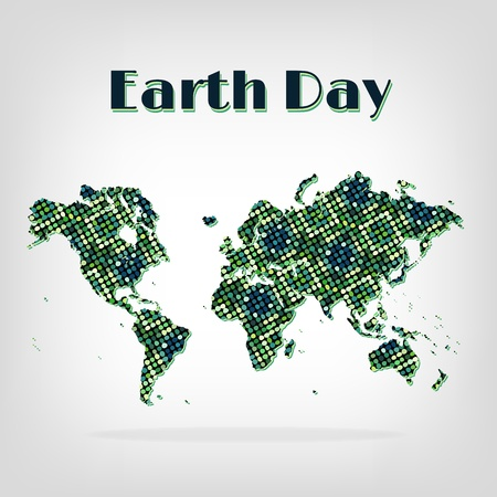 greenpeace: Earth Day card, decorative map with circles abstract green pattern on grey backdrop with shadow.