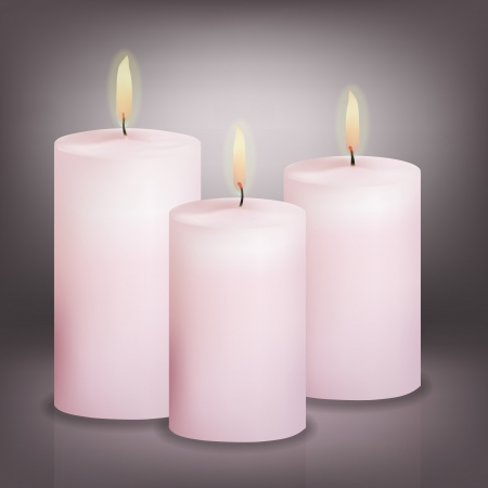 Vector illustration of three pink candles Vector