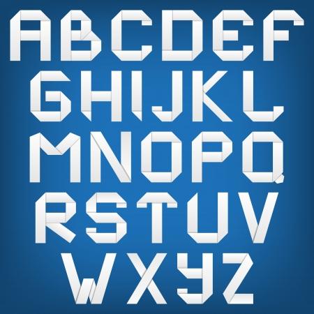 White alphabet with shadow, origami style.