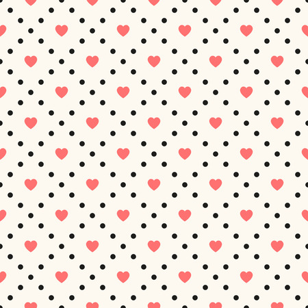Vector seamless retro pattern, polka dot with hearts. Can be used for wallpaper, pattern fills, web page background,surface textures Vector