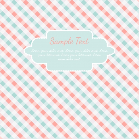 Checkered coral and turquoise card template with place for text Vector