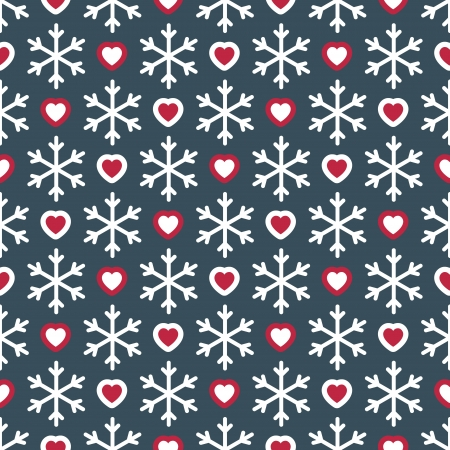 Seamless pattern with snowflakes and small hearts. Can be used for wallpaper, pattern fills, textures Vector