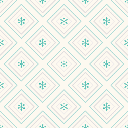 Geometric seamless pattern with repeating rhombus and snowflakes. Can be used for wallpaper, pattern fills, web page background Stock Vector - 22583643