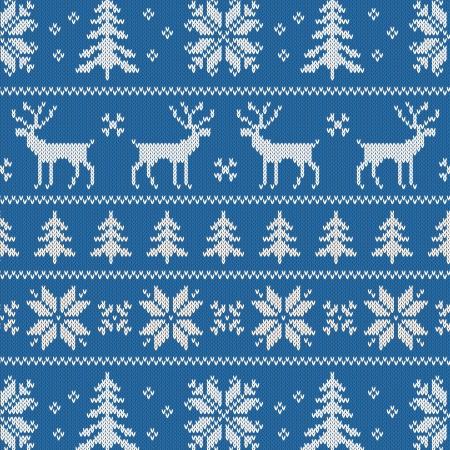 maglioni: Seamless con disegno inverno maglione - cervi, fiocco di neve e albero di Natale