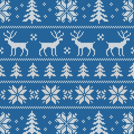 embroidery on fabric: Seamless pattern with winter sweater design - deer, snowflake and christmas tree Illustration