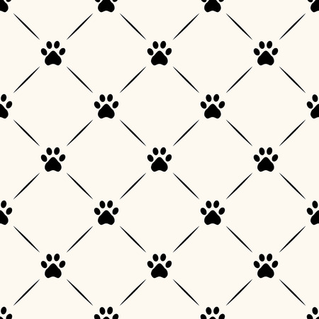Seamless animal pattern of paw footprint. Vector