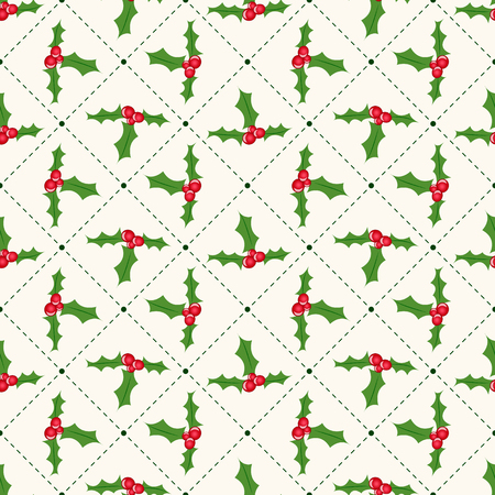 ilex: Seamless floral geometrical pattern with ilex. Christmas and new year style.