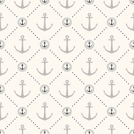 Vector seamless retro pattern, polka dot with anchors in rope circles. Can be used for wallpaper, pattern fills, web page background