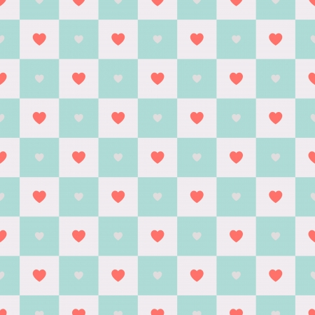 Vector seamless retro pattern, polka dot with hearts on squares. Can be used for wallpaper, pattern fills, web page background Illustration