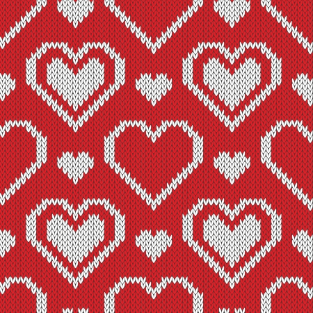 Seamless knitted sweater pattern with hearts. Can be used for wallpaper, pattern fills, web page background,surface textures Vector