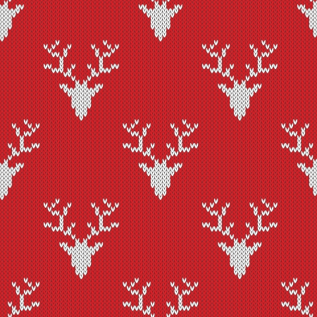 close knit: Red knitted sweater with deer seamless pattern. Can be used for wallpaper, pattern fills, web page background,surface textures