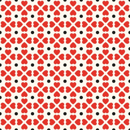 Seamless geometric pattern with hearts and dots. Can be used for wallpaper, pattern fills, web page background,surface textures Vector