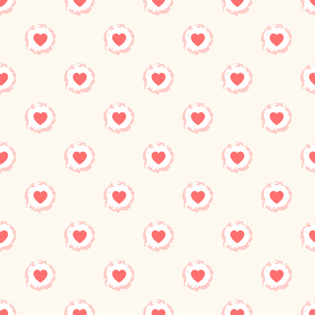 Seamless geometric cute pattern with hearts in rough round frames. Vector