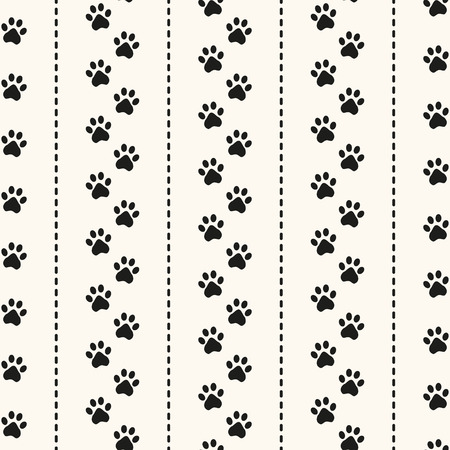 cat walk: Seamless animal pattern of paw footprint and polka dot. Can be used for wallpaper, pattern fills, web page background,surface textures Illustration
