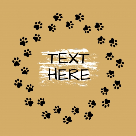 Round frame with animals footprints, card template with place for your text. Vector