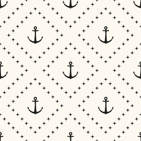 Vector seamless retro pattern, polka dot with anchors. Can be used for wallpaper, pattern fills, web page background,surface textures Illustration