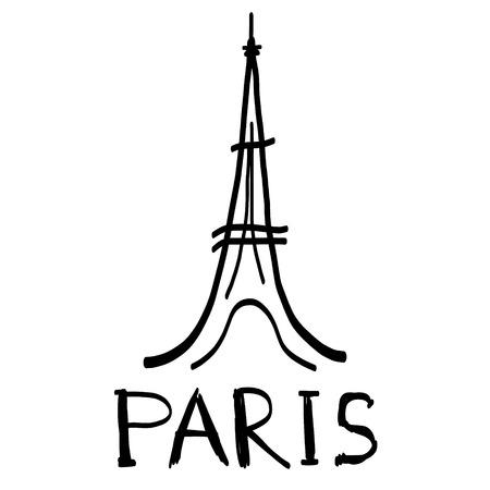 eifel: Eiffel Tower icon in sketch style with hand drawn word paris Illustration