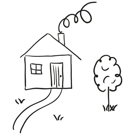 Tekening van een huis in een cartoon-stijl