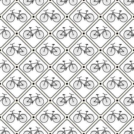 Vector seamless retro bicycle pattern with rhombus. Can be used in textiles, for book design, website background. Vector