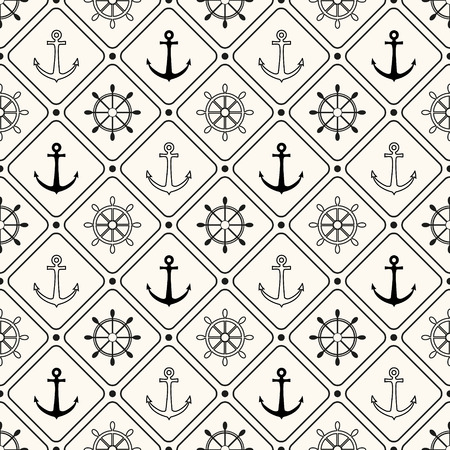 Vector seamless retro pattern, polka dot with anchors and wheels. Can be used for wallpaper, pattern fills, web page background Vector