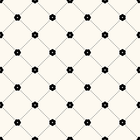 Vector seamless retro pattern, polka dot with flowers.