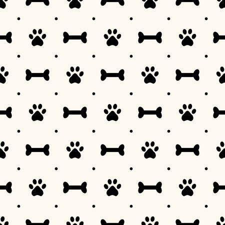 Seamless animal pattern of paw footprint and bone, polka dot. Can be used for wallpaper, pattern fills, web page background,surface textures Vector