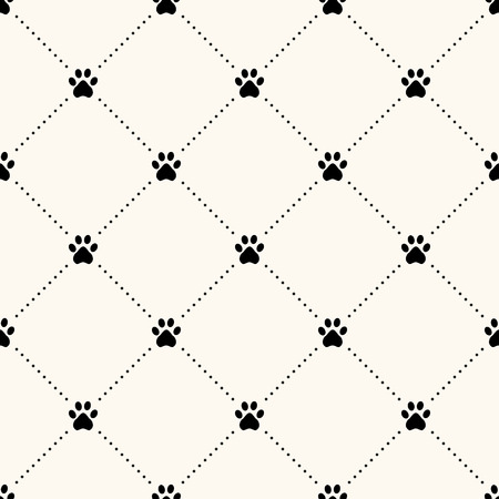 footstep: Seamless animal pattern of paw footprint and polka dot. Can be used for wallpaper, pattern fills, web page background,surface textures Illustration