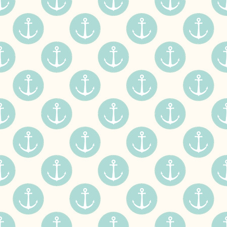 Vector seamless retro pattern, with anchors in blue circles. Can be used for wallpaper, pattern fills, web page background Illustration