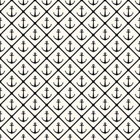 Vector seamless retro pattern with anchors and smooth rhombuses. Can be used for wallpaper, pattern fills, web page background