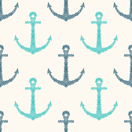 nautical pattern: Vector seamless retro pattern with hand drawn anchors. Can be used for wallpaper, pattern fills, web page background Illustration