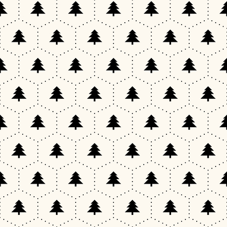 seamless retro pattern, christmas trees