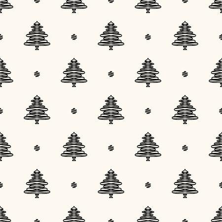 Vector seamless retro pattern, christmas trees Illustration