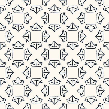 grange: Seamless nautical pattern with paper boats.