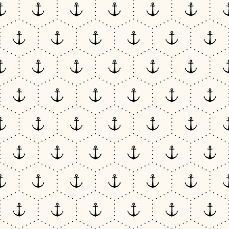 seamless retro pattern with anchors