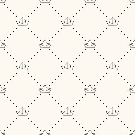 Seamless nautical retro pattern with paper boats. Illustration