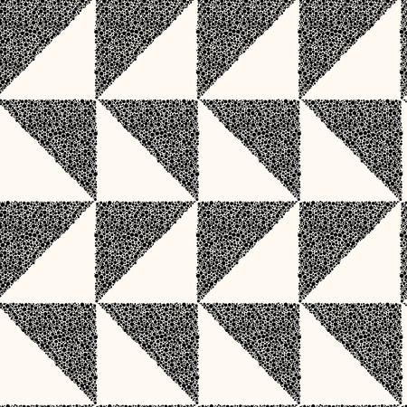 Vector seamless modern monochrome pattern. Background with triangles in chaotic dots. Trendy tileable backdrop.