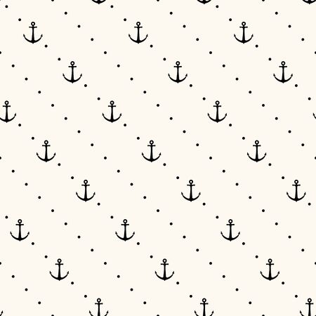 wallpaper dot: Vector seamless retro pattern, polka dot with anchors. Can be used for wallpaper, pattern fills, web page background,surface textures Illustration
