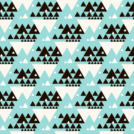 Seamless abstract decorative background.  Repeating geometric tiles from blue, black and white triangles.