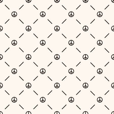 Vector seamless retro pattern, with peace sign and lines. Can be used for wallpaper, pattern fills, web page background Illustration