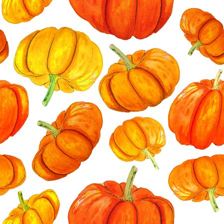 Seamless pattern with handdrawn watercolor orange pumpkins. Autumn texture. Reklamní fotografie