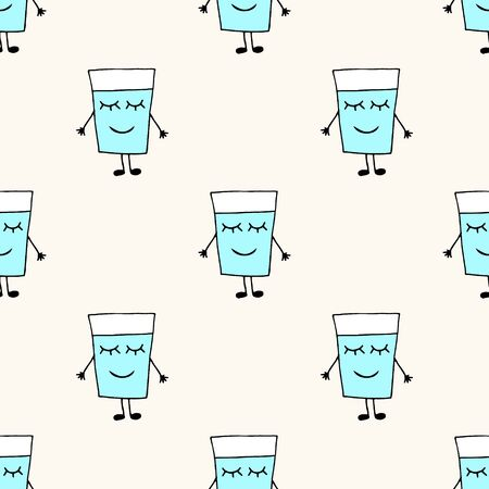 Seamless vector pattern with cute happy glass of water with eyes, hands and legs. Can be used for illustration of zero waste, reuse bottles, save water Illustration